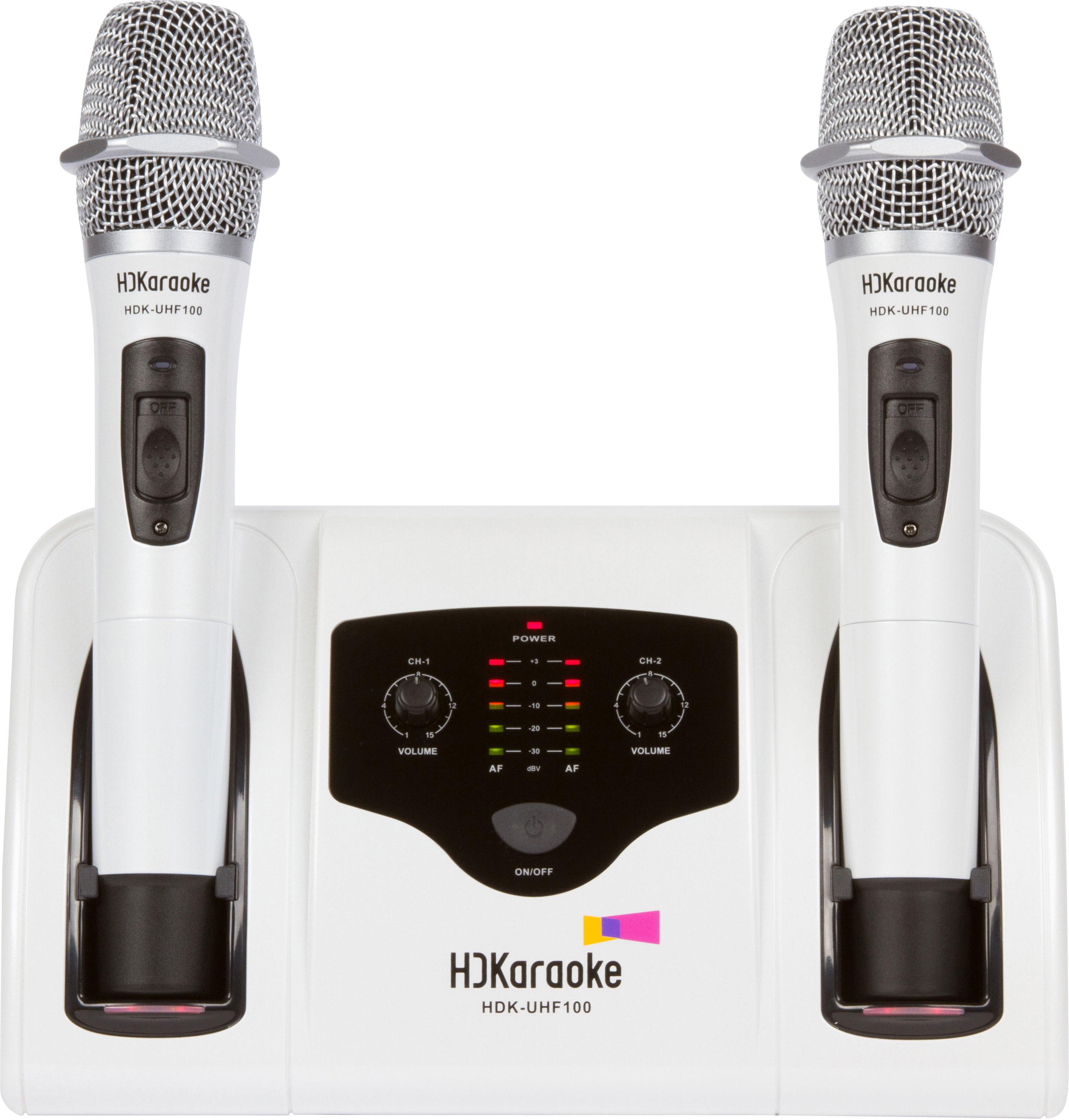 hdkaraoke uhf 100 dual channel rechargeable wireless microphone system 1 pair hdkaraoke. Black Bedroom Furniture Sets. Home Design Ideas